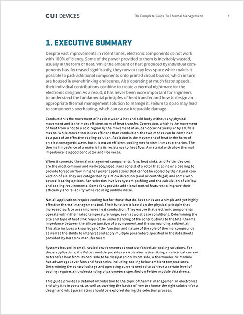 Thermal Management eBook Executive Summary