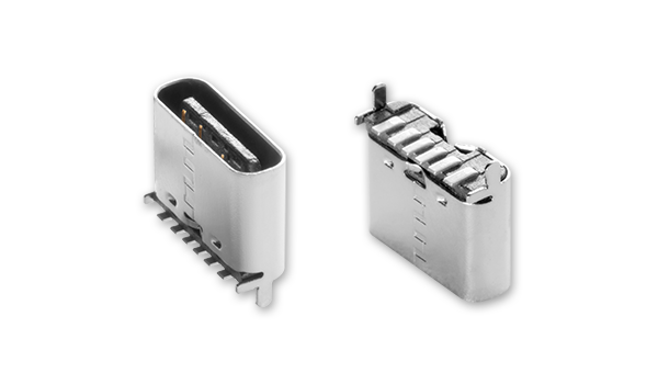 60 W Power-Only USB Type C Receptacle Features Vertical Orientation